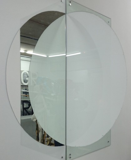 'Madam I'm Adam' 2 x scraped mirrors, 150 x 150 cms, 2015